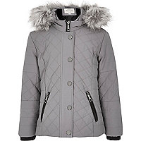 Girls grey hooded quilt jacket