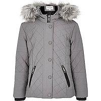 Girls grey quilted double zip jacket