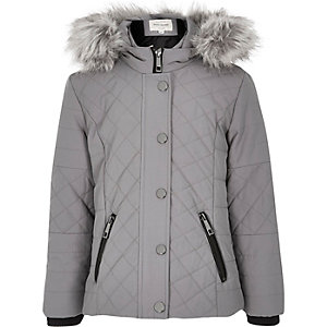 Girls grey quilted double zip jacket