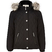 Girls black quilted double zip jacket