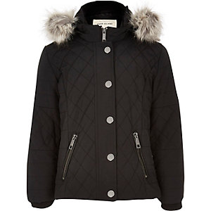 Girls black quilted doule zip jacket