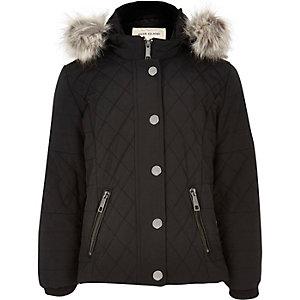 Veste matelassée noire à capuche pour fille