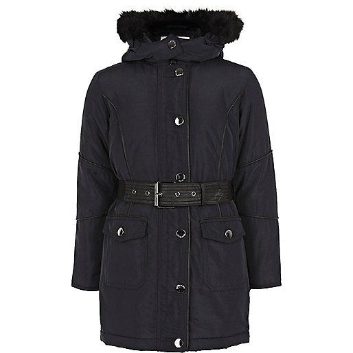Girls navy hooded parka