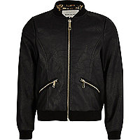 Girls black leather look bomber jacket