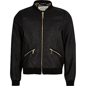 Girls black leather-look bomber jacket