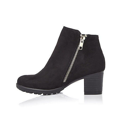 Girls black zipped ankle boots