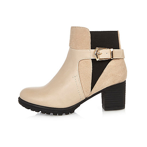 Girls cream buckle ankle boots