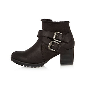 Girls black double buckle ankle boots