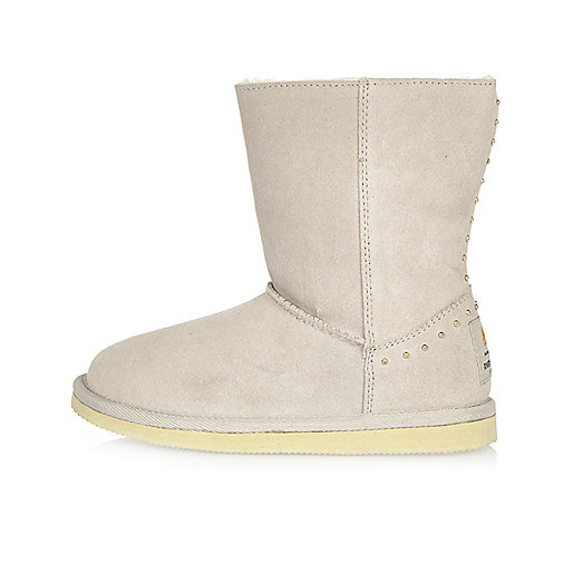 Girls grey studded soft boots