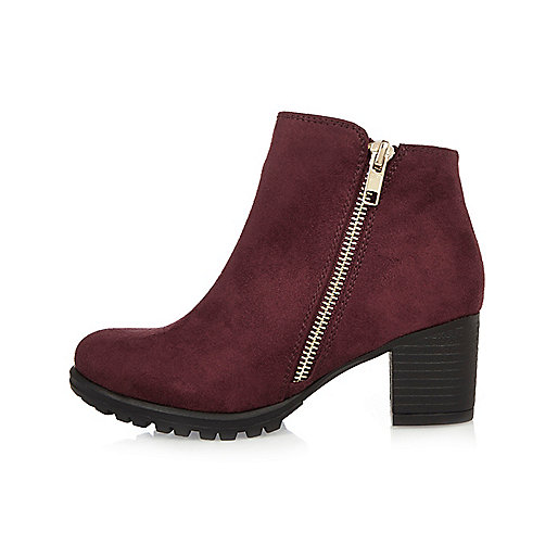 Girls red zipped ankle boots