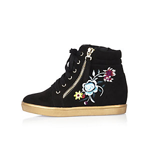 Girls black embroidered hi tops