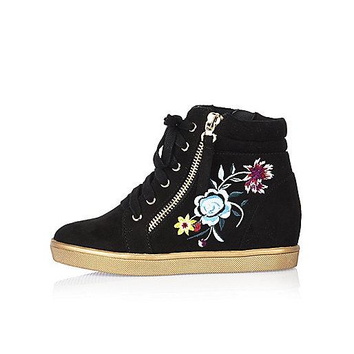 Girls black embroidered hi tops
