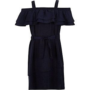 Girls navy frilly bardot dress