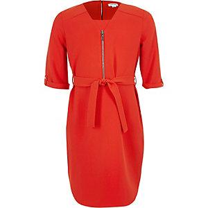 Girls red zipped shirt dress