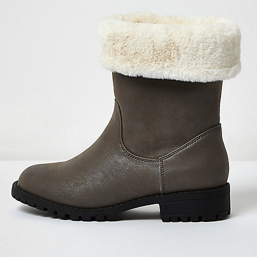 Girls grey faux fur lined chunky boots