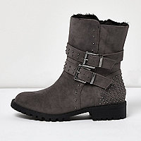 Girls grey buckle fur lined heeled boots