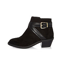 Girls black wraparound Western boots