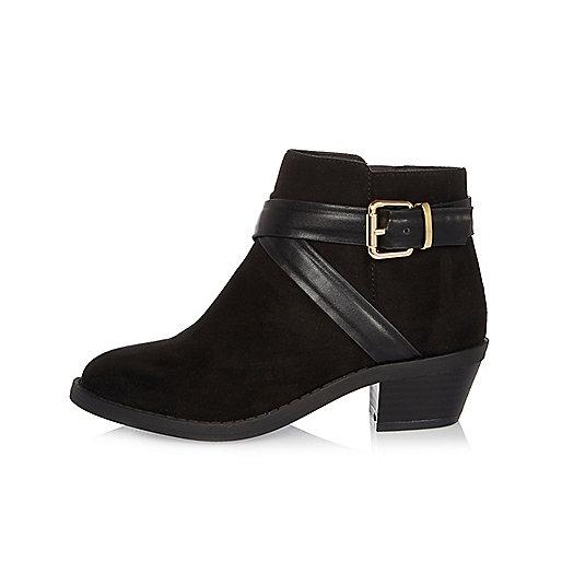 Girls black wraparound Western boots