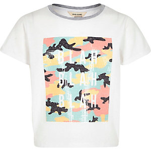 Girls white sequin print t-shirt