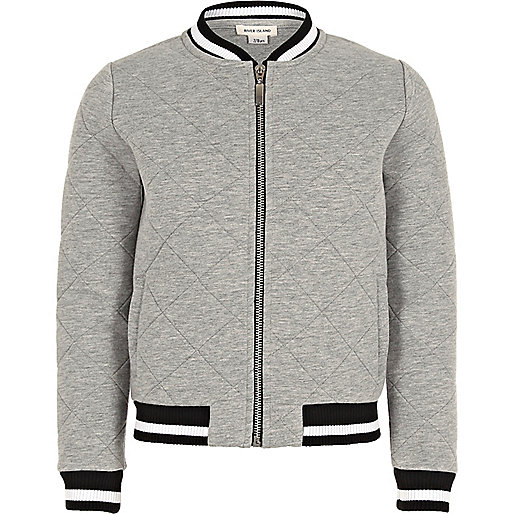 Girls grey quilted bomber jacket
