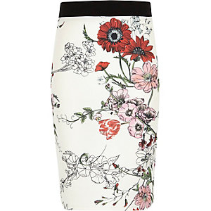 Girls white floral print tube skirt
