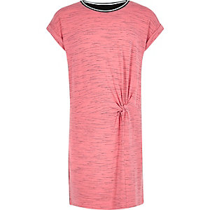 Girls pink sporty trim T-shirt dress
