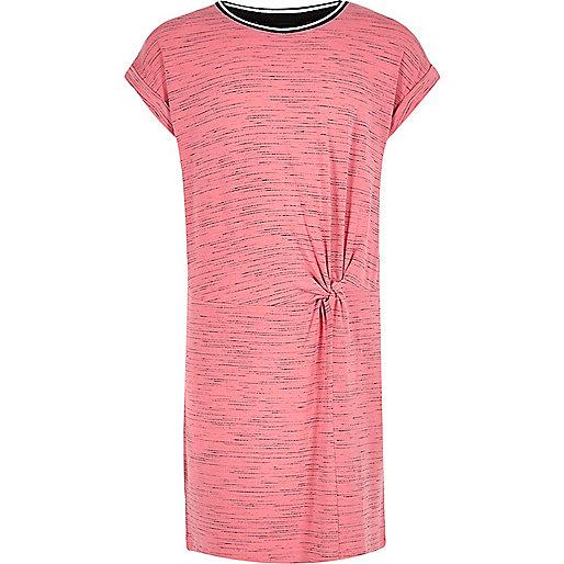 Girls pink sporty trim T-shirt dress