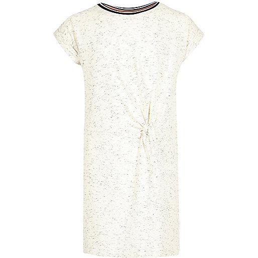 Girls cream sporty trim t-shirt dress