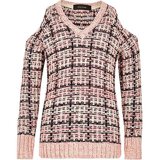 Girls pink checked cold shoulder jumper