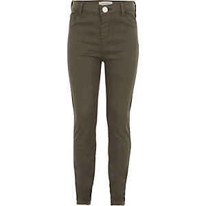 Girls khaki washed Molly jeggings
