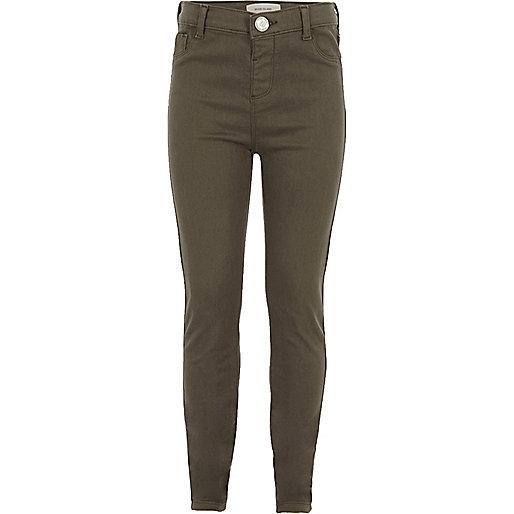 Girls khaki high-waisted Molly jeggings