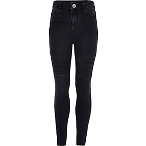 Girls black Amelie biker jeans