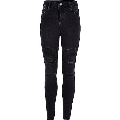 Girls black Amelie biker jeans