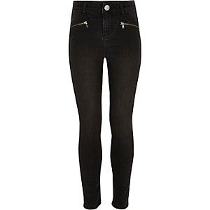 Girls black washed zip slim fit jeans