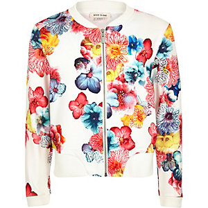 Girls white floral print bomber jacket