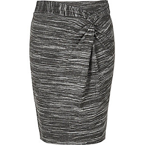 Girls grey twist knot skirt