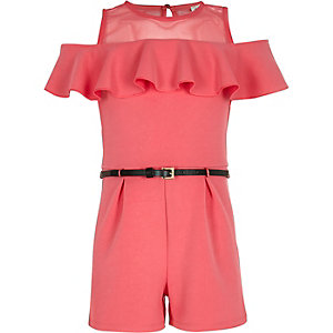 Girls pink frilly mesh bardot playsuit