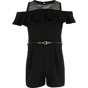 Girls black frilly mesh bardot playsuit