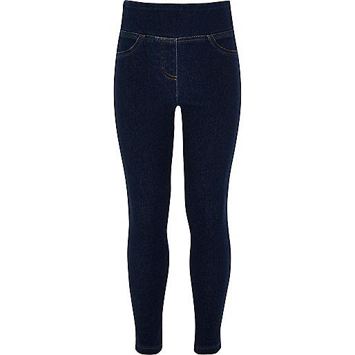 Girls blue denim-look leggings