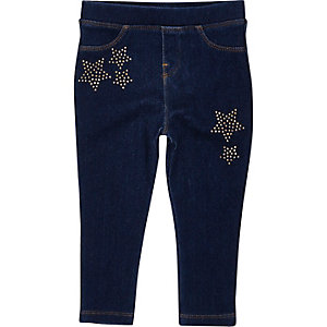 Mini girls dark denim look star leggings