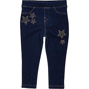 Mini girls dark denim look star leggings