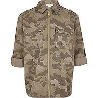 Girls khaki camo zip shirt