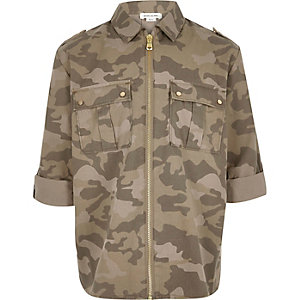 Girls khaki camouflage print zip shirt