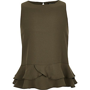 Girls khaki peplum ruffle top