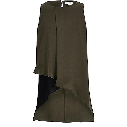 Girls khaki wrap tunic
