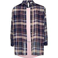 Pink kariertes, doppellagiges Hemd