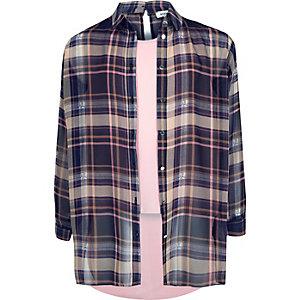 Chemise double épaisseur à carreaux rose pour fille
