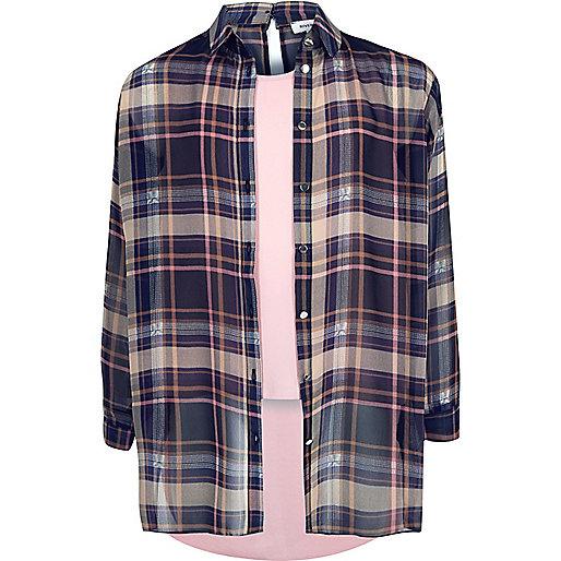 Chemise double épaisseur rose à carreaux pour fille