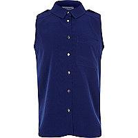 Girls blue sleeveless military blouse