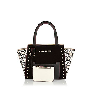Girls black and white winged tote handbag